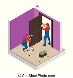 interior., costruzione, room., trapano, vettore, nuovo, elettrico, installare, porta, industria, handymans, costruzione, bianco, mano, isometrico, illustrazione, casa