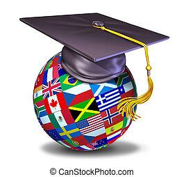 internazionale, berretto, educazione, graduazione