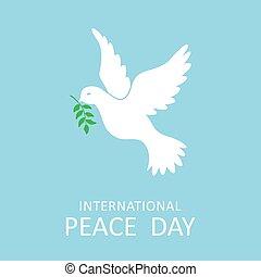 internazionale, colomba, oliva, pace, ramo, giorno