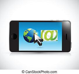 internazionale, email, illustrazione, comunicazione