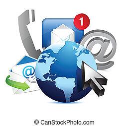 internazionale, globo, concetto, comunicazione
