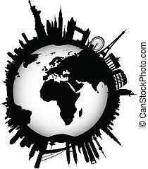 internazionale, orizzonte, globo, mondo
