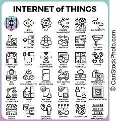 :, internet, cose, icone, iot, concetto