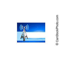 internet, radio, fondo, onde, torre, icona
