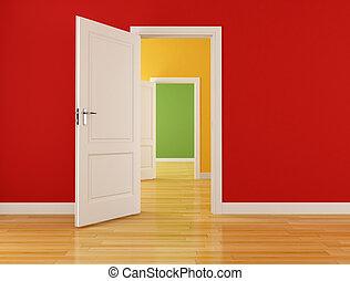 interno, aperto, vuoto, porte