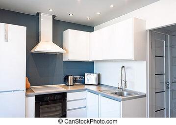 interno, appartamento, moderno, spazioso, cucina