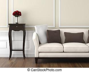 interno, bianco, beige, classico