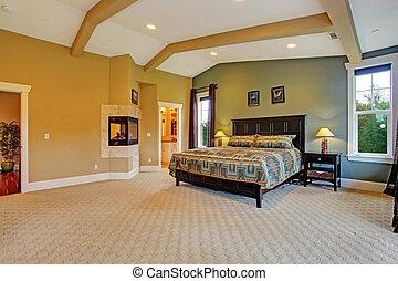interno, casa, maestro, lusso, camera letto