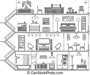 interno, casa, vettore, illustrazione, silhouette.