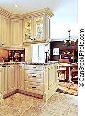 interno, cenando, stanza moderna, cucina