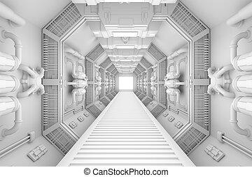 interno, centro, astronave, vista