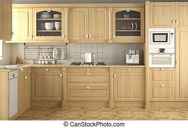 interno, classico, disegno, cucina