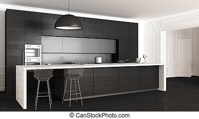 interno, classico, disegno, minimalistic, cucina