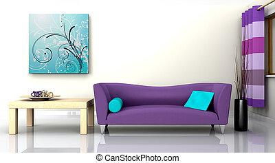 interno, divano, contemporaneo