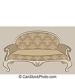 interno, divano, vendemmia