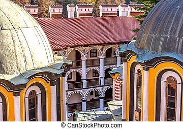 interno, iarda, monastero, vista, rila, bulgaria
