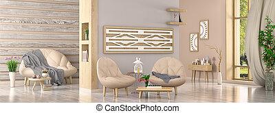 interno, interpretazione, disegno, stanza, vivente, poltrone, due, piante, divano, moderno, 3d