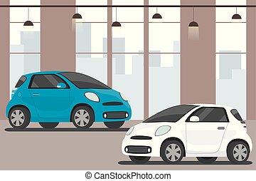 interno, moderno, automobili, appartamento, sala esposizione