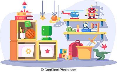 interno, moderno, bambini, stanza, giocattoli