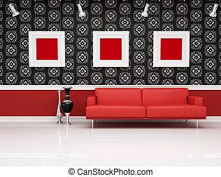 interno, moderno, divano, rosso, classico