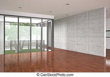 interno, moderno, vuoto, pavimento parchè