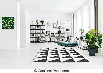 interno, pianta, appartamento, spazioso