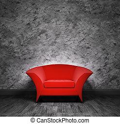 interno, poltrona, rosso