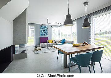 interno, poltrone, appartamento, spazioso