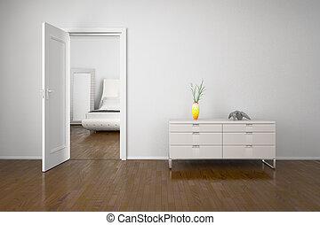 interno, porta apre
