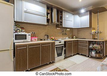 interno, residenziale, appartamento, spazioso, cucina