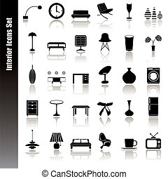 interno, set, icone