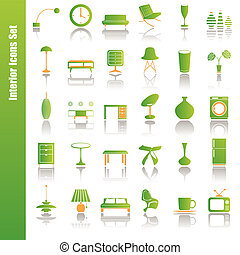 interno, set, verde, icone