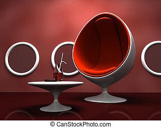 interno, tavola, sedia, moderno, rosso