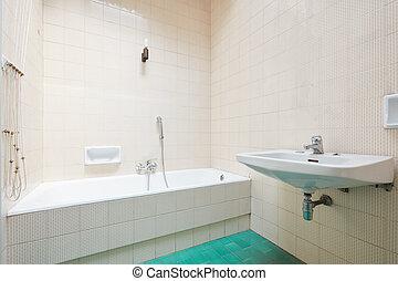 interno, vasca bagno, vecchio, pavimentato, bagno