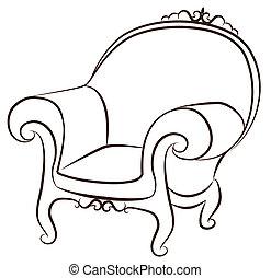 interno, vendemmia, arm-chair