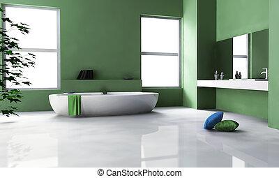 interno, verde, bagno, disegno
