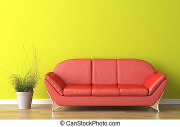 interno, verde, disegno, rosso, divano