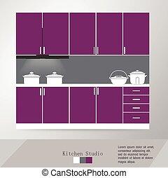 interno, vettore, cucina