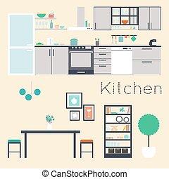interno, vettore, illustrazione, cucina