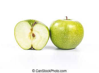 intero, mela verde, mezzo