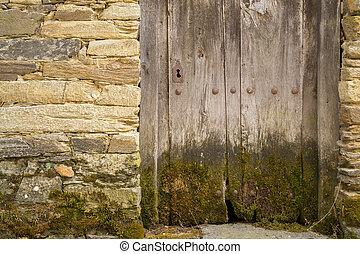 intero, vecchio, sone, legno, serratura, parete, muschio, porta
