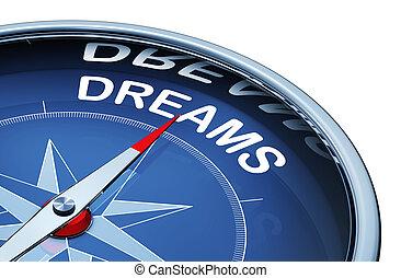 interpretazione, 3d, parola, fare un sogno, bussola