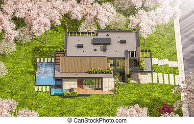 interpretazione, asse, moderno, casa, legno, 3d, facciata, primavera