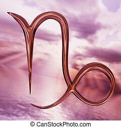 interpretazione, brillante, oroscopo, simbolo., capricorno, zodiaco, 3d