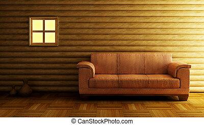 interpretazione, moderno, divano, 3d