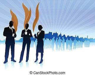 interruzione affari, caffè, squadra, orizzonte