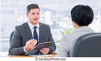 intervista, lavoro, controllo, durante, recruiter, candidato
