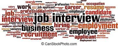 intervista, lavoro, parola, nuvola