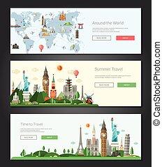 intestazioni, limiti, illustrazione, set, mondo, famoso, disegno, appartamento, bandiere