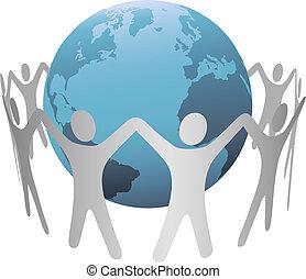 intorno, catena, persone, terra pianeta, anello